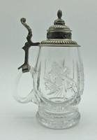 B689 Ón fedeles üveg sörös korsó - csodaszép gyűjtői ritkaság