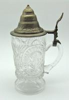 B688 Ón fedeles üveg sörös korsó - csodaszép gyűjtői ritkaság