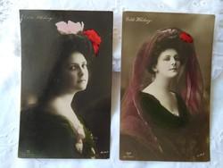 Antik kézzel színezett fotólap/képeslap Edith Whitney művésznő/énekesnő/táncosnő 1910-es évek