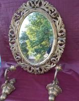 Antik Hársfa Florentin keretes tükör, 2 fa falikarral. 1900