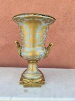 Impozáns aranyozott florális porcelán váza