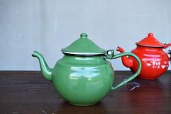 Vintage zománcozott zöld teáskanna kávés kanna