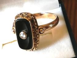 Régi arany gyűrű onix és gyémánt (14k)
