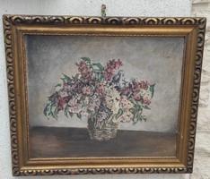 Asztali csendélet festmény viràgokkal olaj kép, Orgona csendélet