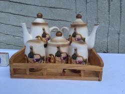 Kerámia asztali fűszertartó készlet fa tálcán - só, bors, cukor, ecet, olaj