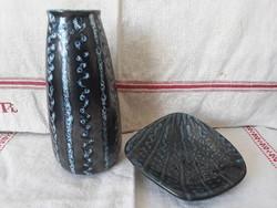 Ritkább Tófej kerámia váza és tálka