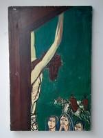 """""""Nézőpont"""" Gabrielo Silvano 1964. Jézus a keresztfán, rendhagyó retro olaj vászon."""