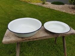 Vintage régi Budafok zománcos kék fehér zománcozott tányér és tál