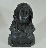 Szent Johanna antik bronz portré 19.század