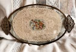 Antik gobelines réz  tálca