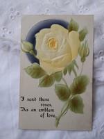 Antik német dombornyomott képeslap//üdvözlőlap, sárga rózsa, virág