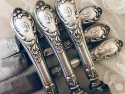 """Antik, ezüstözött """"D"""" monogrammos vajazó kés, Zwilling luxus evőeszköz gyártó  terméke Soling"""
