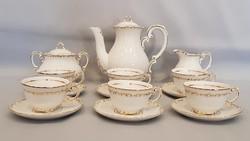 Zsolnay 6 személyes stafír barokk kávés készlet, mokkás készlet