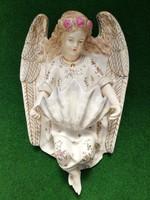 Nagy méretű,  fali szenteltvíztartó angyal (jelzett)