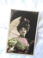 Antik, francia kézzel színezett fotólap/képeslap Dorgére francia színésznő, énekesnő 1908