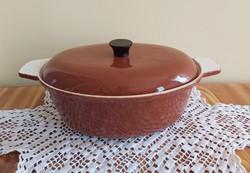 Régi Öntöttvas barna edény sütőtál nosztalgia darab vas edény paraszti falusi tárgy