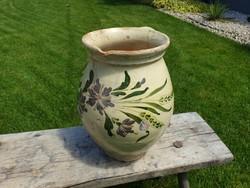 Antik népi mázas cserépkorsó virágos régi búzakalászos szilke 27 cm