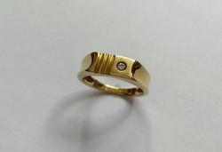 Férfi 14 k-os brilliáns köves pecsétgyűrű/0,05 K/