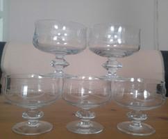 Régi talpas üveg martinis.pezsgős pohár készlet 5 darab
