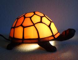 Régi retró teknőc teknős asztali lámpa hangulat lámpa hangulatlámpa bronz vas üveg Tiffany jellegű