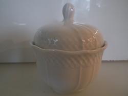 Porcelán - BAVARIA - TÖRTFEHÉR - cukortartó - 10,5 x 9,5 cm - HIBÁTLAN