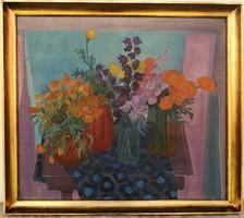 Simsay Ildikó (1942 - 1997) Csendélet c. Képcsarnokos olajfestménye 86x76cm EREDETI GARANCIÁVAL