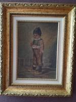 Régi, kisfiút ábrázoló olajfestmény, jelzett