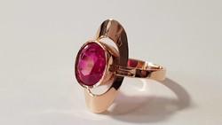 14 K arany gyűrű szintetikus rubinnal
