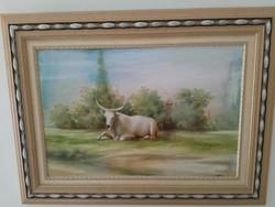 Tanyasi témájú festmény, jelzett