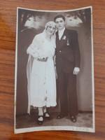 Régi esküvői fotó 1930 körül Hozdovits Arad menyasszony vőlegény fénykép