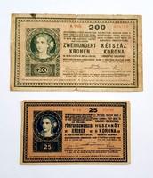 200 korona 1918 és 25 korona 1918.