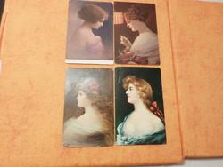 1/ Angelo Asti: Lady, 2/ Modell szalaggal,  1907., 3/ Tükröm, tükröm..  használt lap: 1914