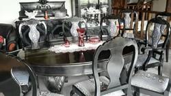 Antik 10személyes étkezőasztal székekkel