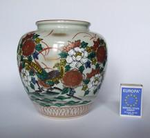 Régi, érdekes keleti (japán vagy kínai) mintás Minolta Europe 1976 feliratos porcelán fajansz váza