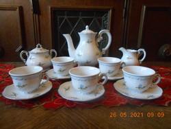 Zsolnay kék barackvirág mintás kávés készlet