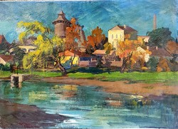 Metykó Gyula (1907-1992) : Pöstyéni fürdő,50x70 cm.