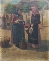Nagy Ernő- ( 1881-1952) - Piacon- 55x69 cm