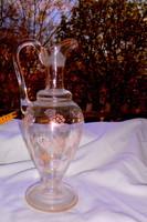 Antik sorszámozott  zománc festett  szakitott üveg karaffa