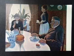 """Paul Signac """"Breakfast"""" Színes Postatiszta Képeslap"""