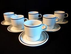 Kék csíkos alföldi porcelán teás készlet 6-6 bögre, csésze és tányér