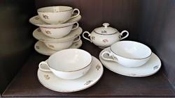 Art .deco ( 5 személyes). finom, elegáns, aranyozott  teáscsésze , 5 csészealj, fedeles cukor tartó.