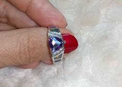 Gyönyörű, mystic topáz köves, 925 jelzésű gyűrű 9