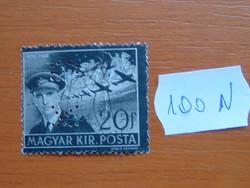 """MAGYAR KIR.POSTA 20 FILLÉR 1942 HORTHY ISTVÁN MEMORIAL """"KS"""" LYUKASZTOTT!! 100N"""
