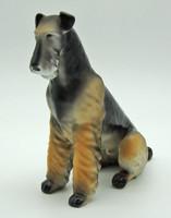 B720 Hollóházi porcelán ülő foxi foxterrier kutya - szép, gyűjtői darab