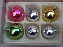 Régi üveg karácsonyfadísz egyben dobozával .6-darab/