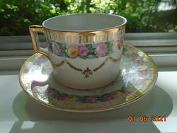 Antik Rózsás arany girlandos számozott teás csésze alátéttel