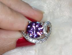 Gyönyörű, ametiszt köves, 925 jelzésű gyűrű 8