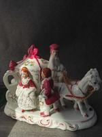 Barokk lovas kocsi, nipp, porcelán