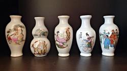 5 db. japán porcelán ibolya váza