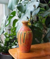 Jelzett retro kerámia lámpatest - narancssárga, absztrakt mintával